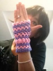 Stripes & Baubles Fingerless Gloves (S) - CH0255
