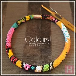 Colours! beaded crochet necklace (CH0413)