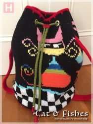 Cat & Fishes Tapestry Crochet Bag (CH0416)