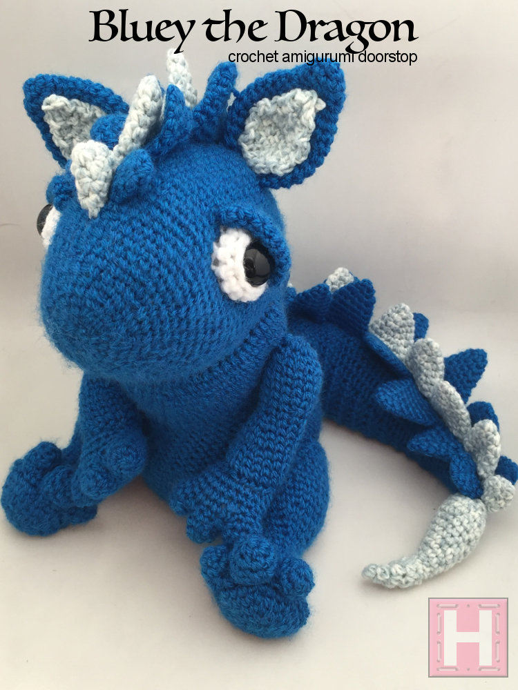 Bluey The Dragon Crochet Doorstop Ch0483 ・clearlyhelena